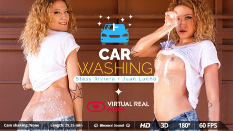 Car washing VR Porn video.