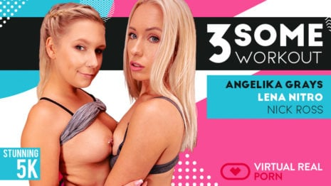 Threesome workout VR Porn video.